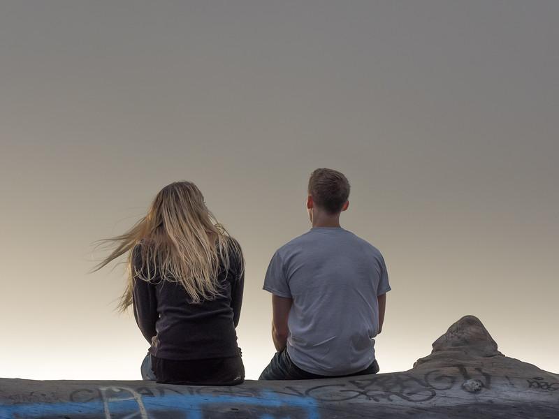 Couple Enjoying Foggy SF Sunset, Berkeley CA
