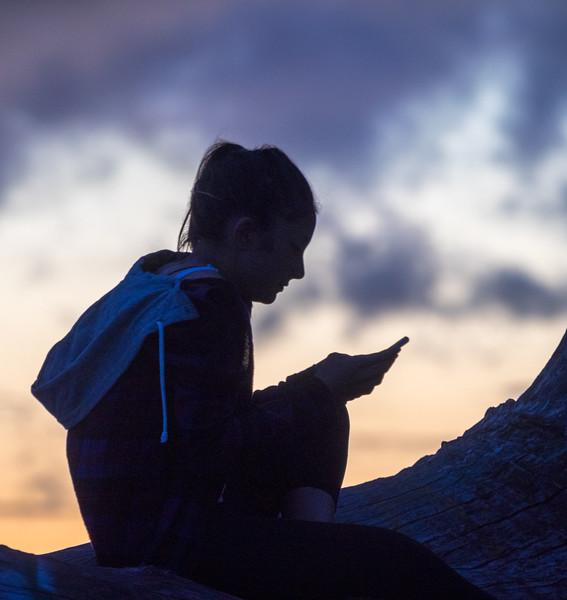 Smart Phone Browsing and Beautiful Sunset