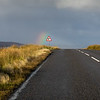 "Deer (or ""Stag"", as the Scots say) Crossing Sign Flanked by Rainbow"