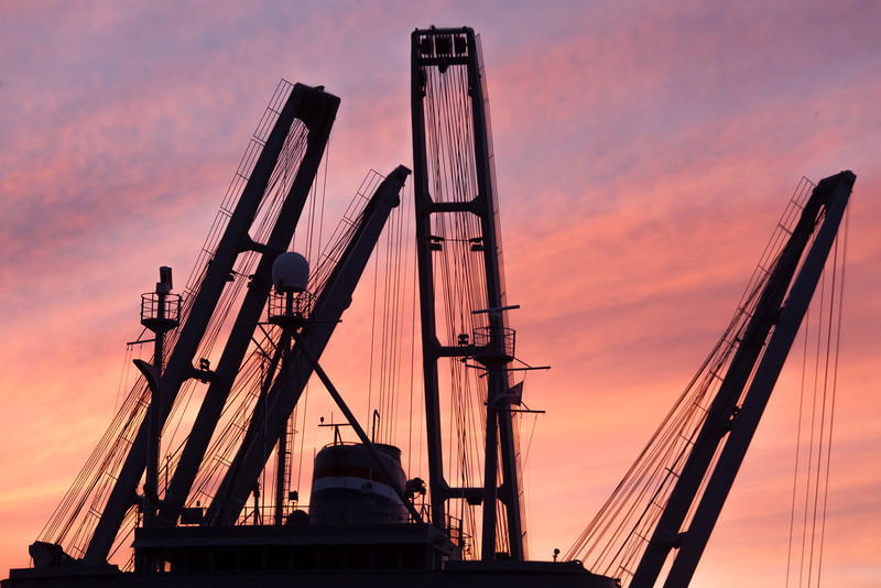 Ship and Crane Towers at Sunset, Alameda Naval Station, CA