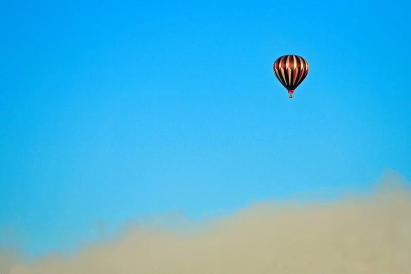 Hot Air Balloon Flying over Morning Fog, Near Prosser Reservoir, CA
