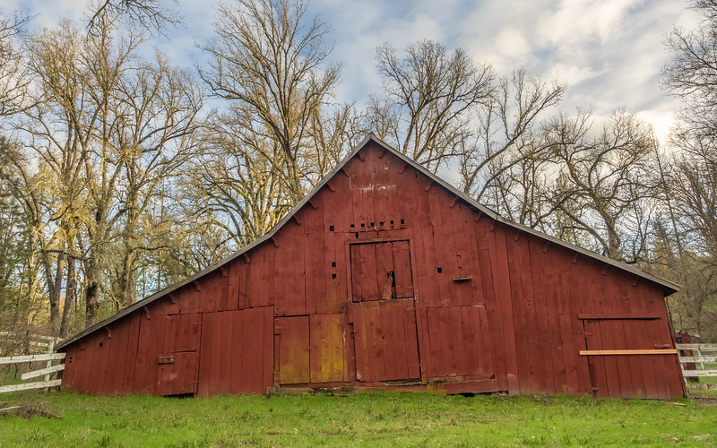 Leaning, Weathered Red Barn in Spring Time
