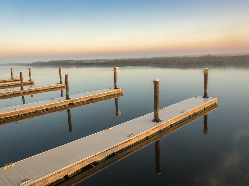 Docks at Sugar Barge Marina on Fall Morning, Bethel Island CA