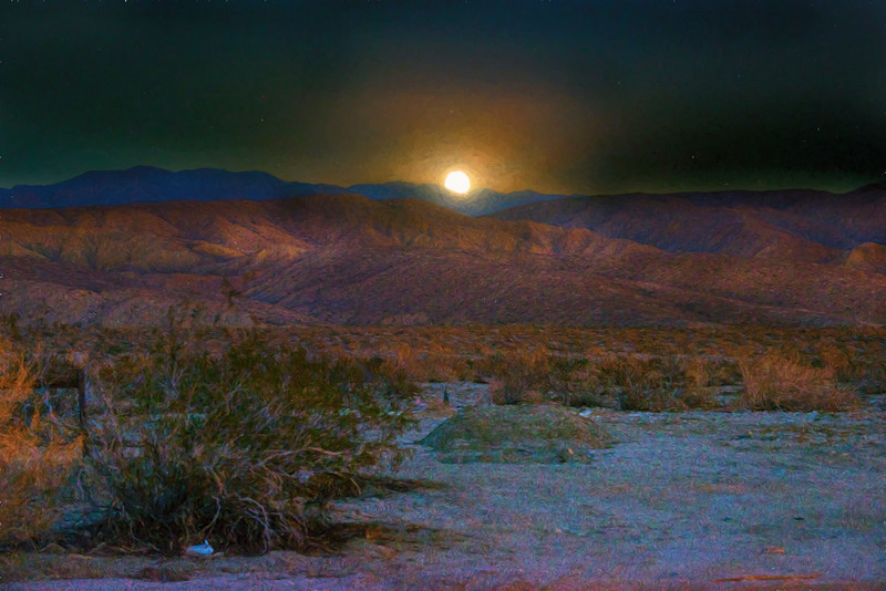 Moonrise over the Coachella Valley