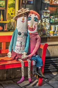 Lovebirds in front of a shop in Bratislava, Slovakia.