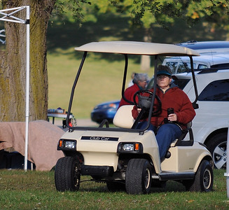 Karen and the golf cart. She's not really as mean as she looks ;-)