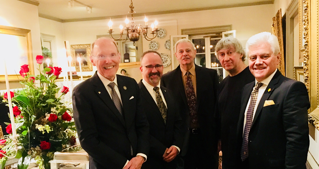 . From left, Middlesex Community College President James Mabry of Bedford, Dr. Eric Meikle of Chelmsford, and Peter Kostoulakos, artist David Phaneuf and Vas Bogosian, all of Lowell