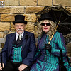 Whitby Gothic Weekend, Whitby Gothic Weekend 2017, WGW, Whitby, Goth, Gothic, Female, Male, Man, Woman, Couple, Dress, Suit, Jacket, Waist Coat, Tie, Pants, Walking Cane, Top Hat, Sun Glasses, Parasol, Umbrella, Hat, Gloves, Satin, Lace, Leather, Moustache, St Mary's Chuch, Blue, Tourquoise, Green, Black, White