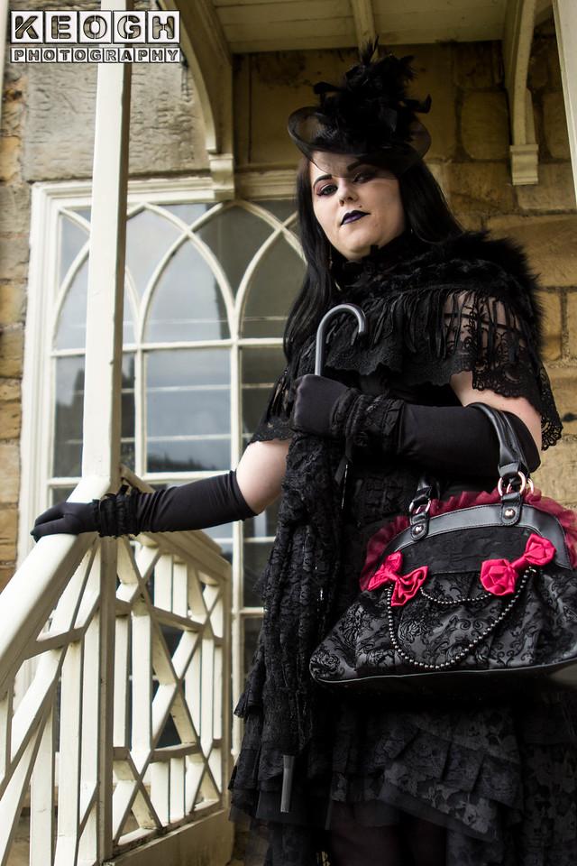 Blouse, Dress, Female, Goth, Gothic, Scarv, Skirt, WGW, Whitby, Whitby Gothic Weekend, Whitby Gothic Weekend April 2017, Woman, Scarf, Lace, Satin, Tights, Shoes, High Heels, Church, St Mary's Chuch, Church Windows, Steps, Black, White, Gloves, Handbag, Gloves, Umbrella