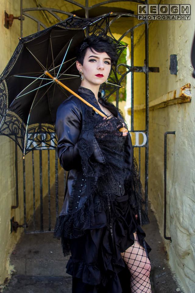 Blouse, Dress, Female, Fishnet Stockings, Fishnets, Girl, Goth, Gothic, Jacket, Lace, Necklace, Parasol, Satin, Skirt, Tights., Umbrella, WGW, Whitby, Whitby Gothic Weekend, Whitby Gothic Weekend April 2017, Woman, Buttons, Coat. Whitby Jet, Black