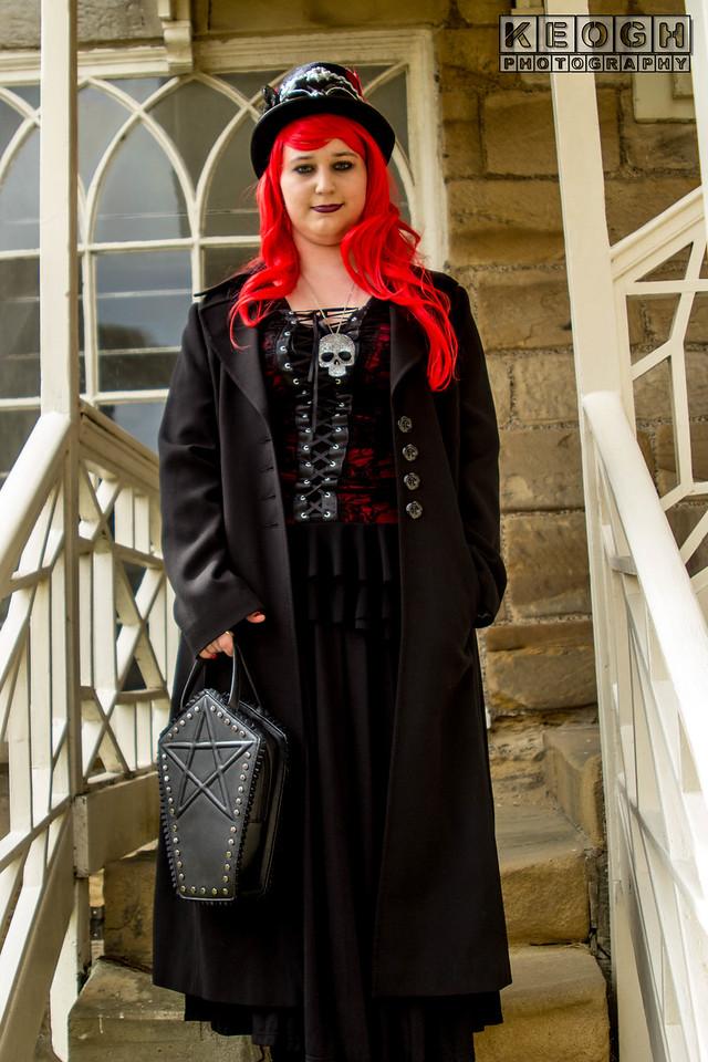 Blouse, Dress, Female, Goth, Gothic, Scarv, Skirt, WGW, Whitby, Whitby Gothic Weekend, Whitby Gothic Weekend April 2017, Woman, Scarf, Lace, Satin, Tights, Shoes, High Heels, Church, St Mary's Chuch, Church Windows, Steps, Black, White, Gloves, Handbag, Gloves, Umbrella, Corset, Wig