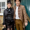 Couple, Female, Goth, Gothic, Male, Man, WGW, Whitby, Whitby Gothic Weekend, Whitby Gothic Weekend April 2017, Woman, Dress, Skirt, Blouse, Tights, High Heels, Headress, Coat, Jacket, Top Hat, Goggles, Pants, Walking Cane, Parasol, Black, Whie, Brown, Lace, Satin, Steampunk