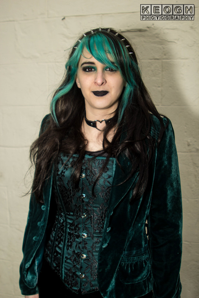 Whitby Goth Weekend, Whitby Gothic Weekend April 2017, Whitby, WGW, Goth, Gothic, Female, Woman, Jacket, Corset, Headress, Lace, Velvet, Green , Black