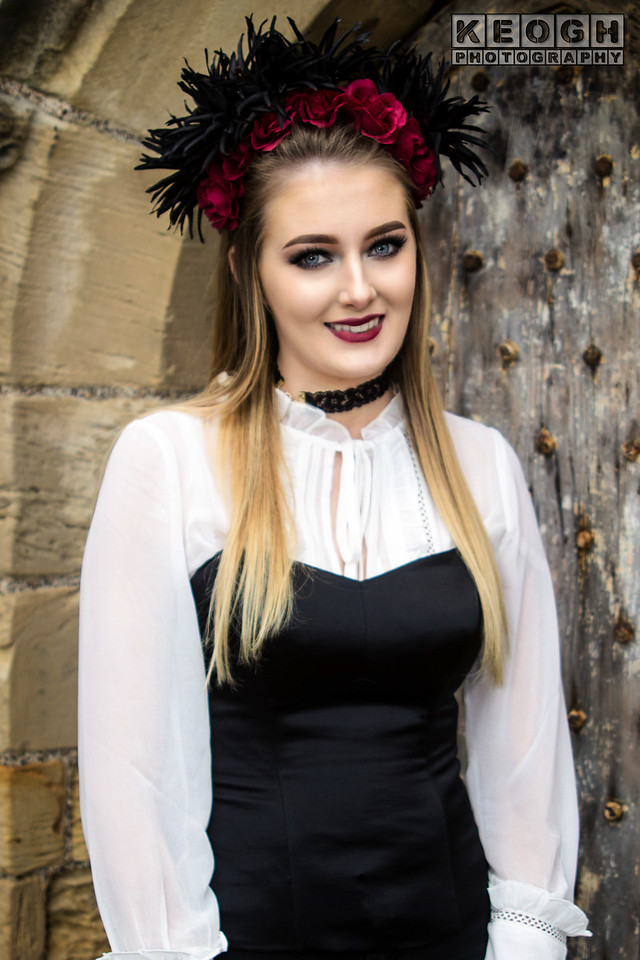 Whitby Gothic Weekend, Whitby Gothic Weekend April 2017, Whitby, WGW, Goth, Gothic, Female, Woman, Girl, Headress, Blouse, Dress, Tights, Skirt, Boots, High Heeled Boots, Necklace, White, Black, Corset, Roses, Red, Church, Steps, Windows, Church Windows, St Marys Church
