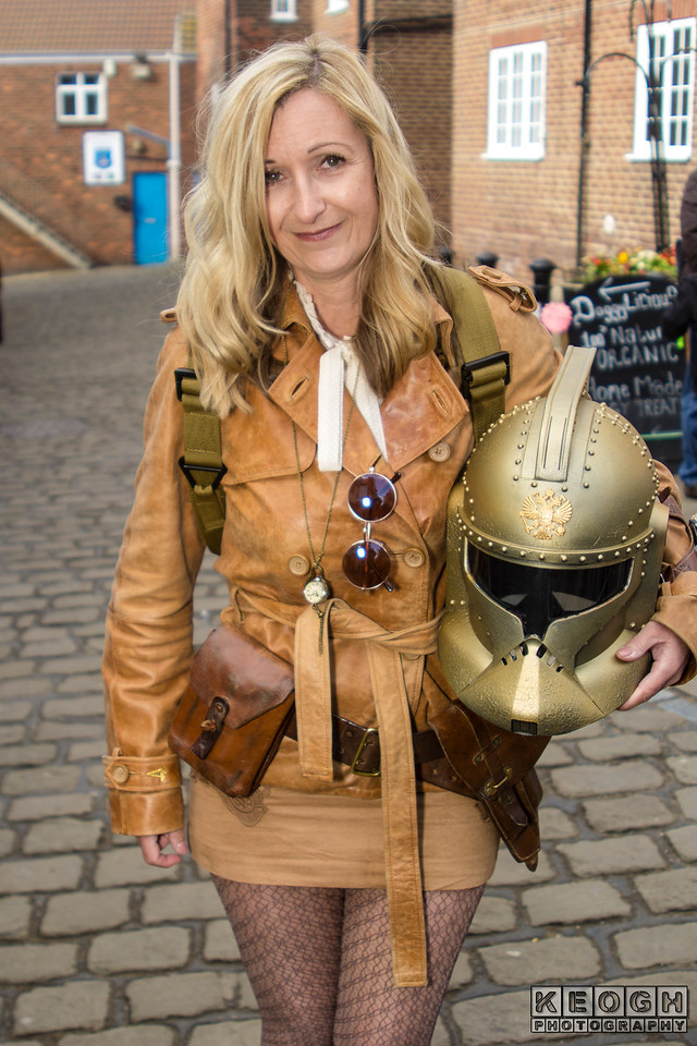 Whitby Goth Weekend, Whitby Gothic Weekend April 2017, WGW, Whitby, Goth, Gothic, Female, Woman, Steampunk, Jacket, Sun Glasses, Back Pack, Belt, Buckles, Straps, Scalf, Scarf, Leather Jacket, Jacket, Skirt, Helmet, Star Wars, Clone Trooper, Steampunk, Tights, Brown, Black, Copper, Bronze, White, Blonde