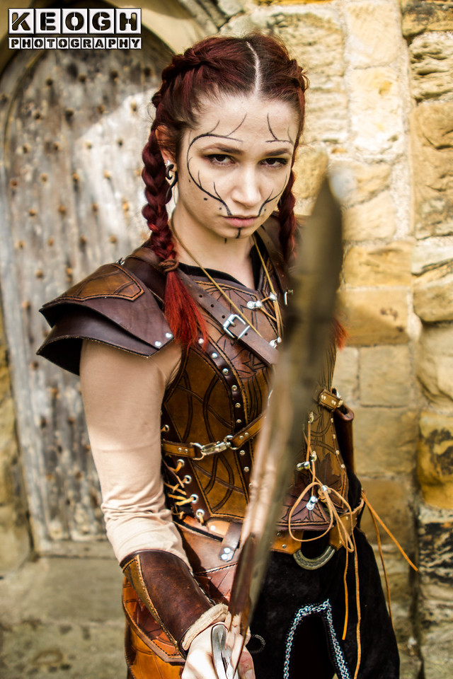 Arm Guards, Armour, Black, Blouse, Brown, Face Paint, Female, Goth, Gothic, Leather, Red, Shoulder Guards, Silver, Steampunk, SteampunkDress, Sword, Top, Trousers, Viking, Waistcoat, Warrior, Whitby, Whitby Goth Weekend, Whitby Gothic Weekend April 2017, White, Woman