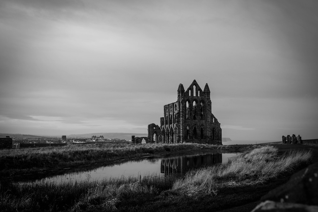 Whitby Abbey black and white