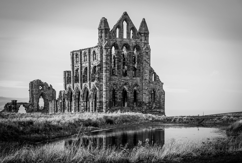 Whitby Abbey black and white 3
