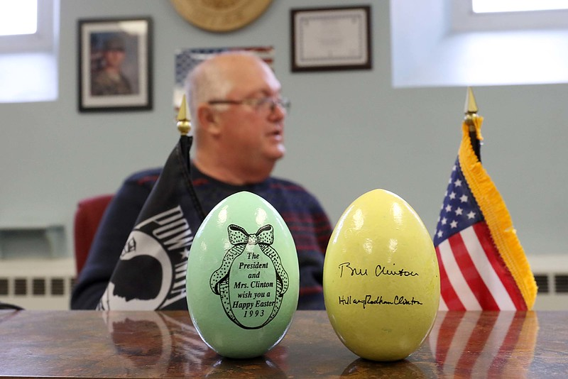 "25 year ago, 1993, Leominster Councilor Rick Marchand was working at New England Specialty Printing when they got the contract to make 12,000 Easter eggs for the White House's Easter Egg Roll. This is what the eggs he made looked like. On one side was a picture with the saying "" The President and Mrs. Clinton wish you a Happy Easter 1993"" while on the back was their signatures. He sits in the background talking all about what happened on Wednesday in the council chambers in Leominster City Hall. SENTINEL & ENTERPRISE/JOHN LOVE"