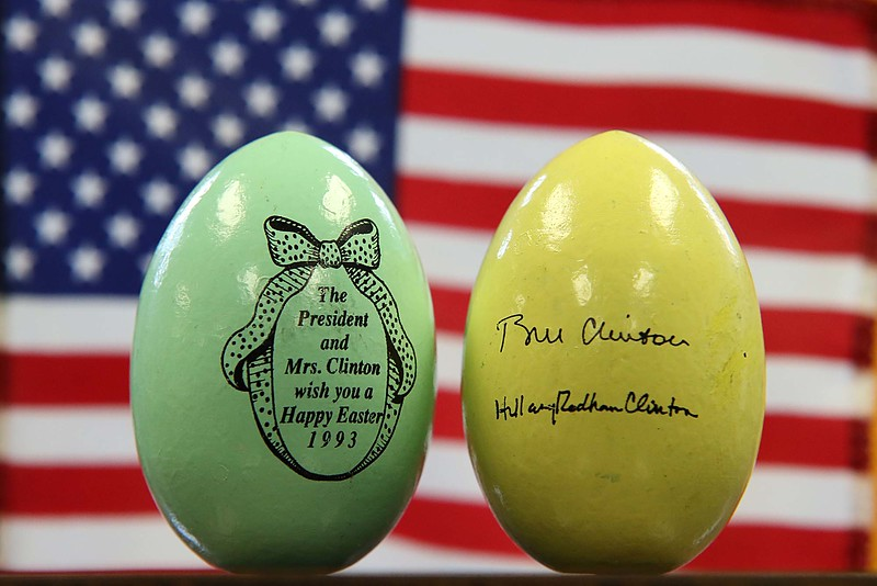 "25 year ago, 1993, Leominster Councilor Rick Marchand was working at New England Specialty Printing when they got the contract to make 12,000 Easter eggs for the White House's Easter Egg Roll. This is what the eggs he made look likee. one of side was a picture with the saying "" The President and Mrs. Clinton wish you a Happy Easter 1993"" while on the back was their signatures. SENTINEL & ENTERPRISE/JOHN LOVE"