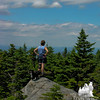 """Filtered views from the top of many granite """"hills""""."""