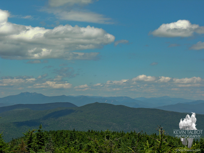 The view northeast from Mount Lafayette on the left to Mount Washington on the right.