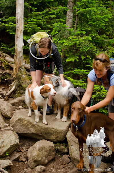 Two hiking legends and three dogs.