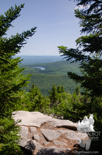 View southeast to Mountain Pond from ledges near the cabin...