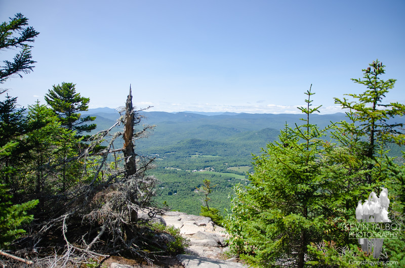 Despite looking for it, I missed the short herd path to a ledge with a view on the way down to the col from North Doublehead.<br /> <br /> This is the view from the ledge looking west near the summit of South Doublehead...<br /> <br /> First view of the town of Jackson and the numerous White Mountains beyond before stepping out on the ledge...