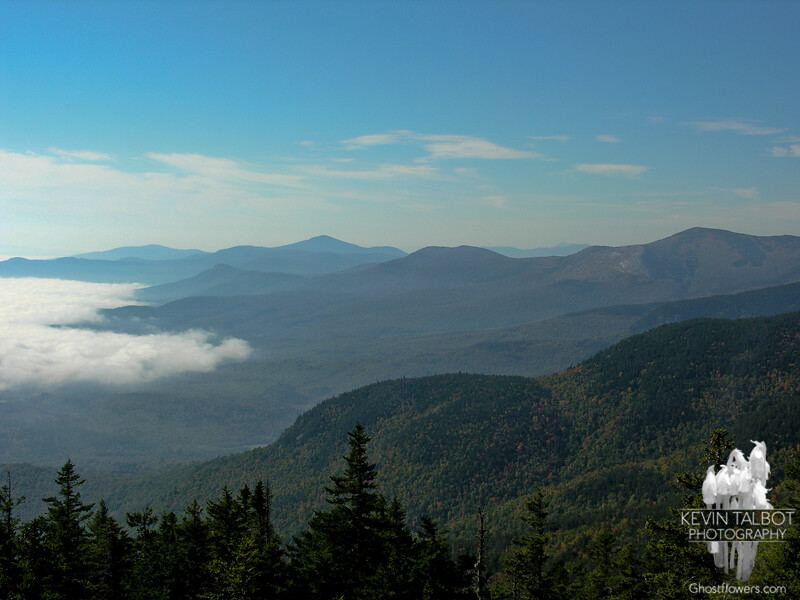 View south to Kearsarge North on the horizon, Eastman Mountain (L) and South Baldface (R).