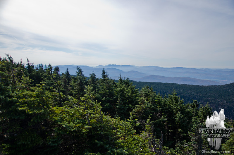 View south from ledges below summit.