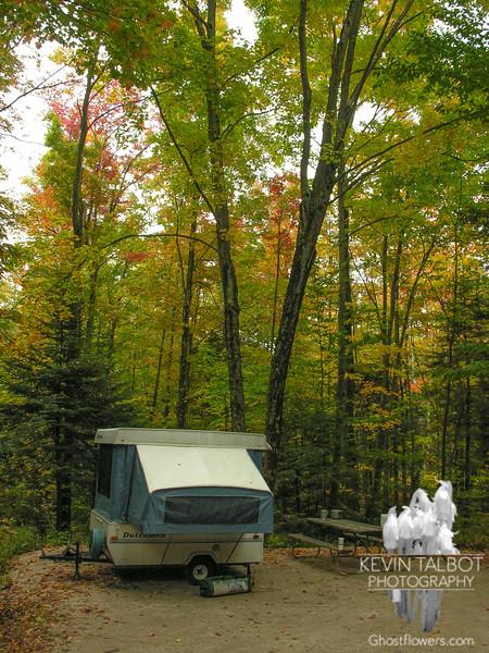 Autumn campsite at Gifford Woods State Park, Killington, Vermont.
