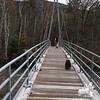 Jude and Emma on the Bemis Bridge cross the Saco River at the start of the Davis Path.