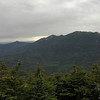 First view as we break out above the trees. L to R Mounts Flume, Liberty, Lincoln and Lafayette, also known as Franconia Ridge.