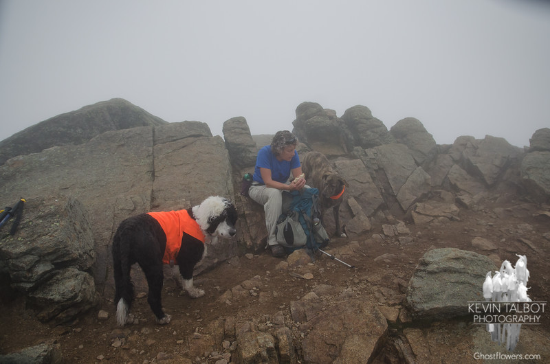 Lunch on a foggy crag...