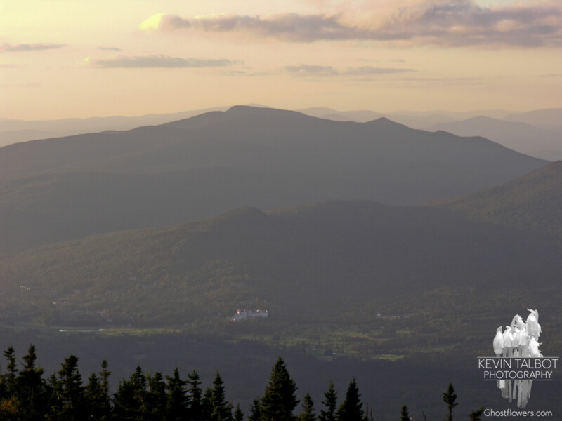 Hazy view of Mount Washington Hotel and Cherry Mountain.