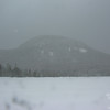 Cannon Mountain through the falling snow.