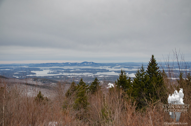 View from the High Ridge Trail southwest across Lake Winnepesaukee to the Belknap Range and Gunstock Ski Area.