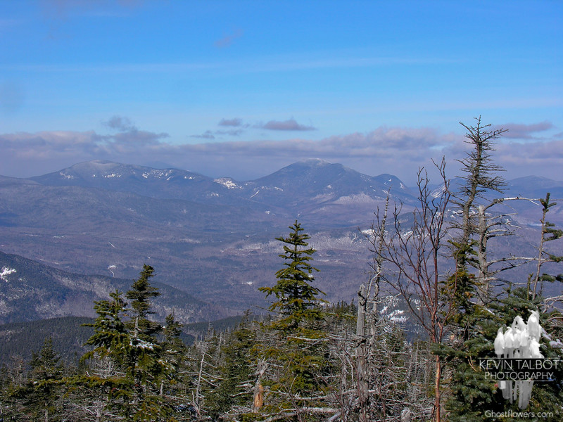 View northwest to The Hancocks and Mount Carrigain (R).