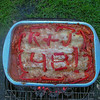 Someone made a veggie lasagna. It says, R + J 48!