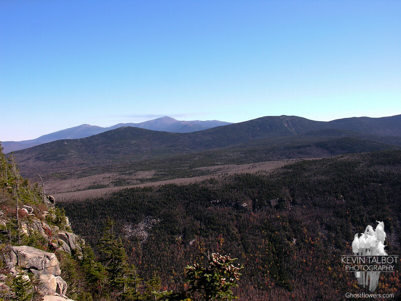 View east past Mounts Tom and Field to the Presidentials from outlook on the Twinway.