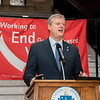 JDI 2020 White Ribbon Day Press Conference at the Massachusetts Statehouse with the Governor Charlie Baker, Lt Governor Karyn Polito, Celtics Star Enes Kantor, and students speaking out against violence to women.