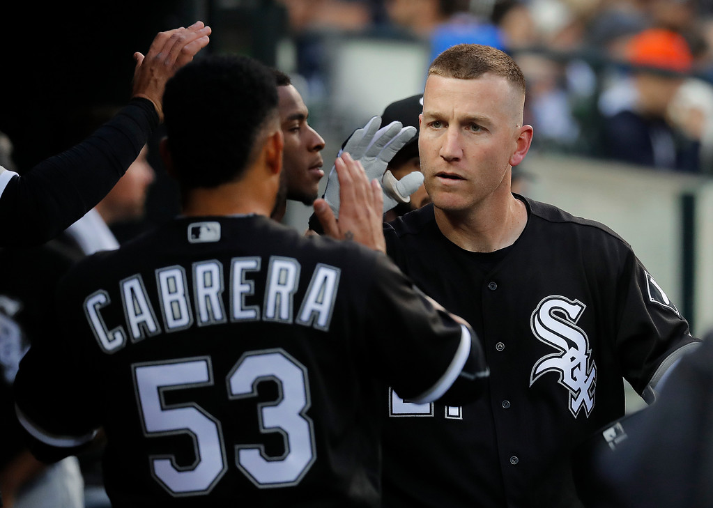 . Chicago White Sox\'s Todd Frazier celebrates his solo home run against the Detroit Tigers in the second inning of a baseball game in Detroit, Friday, April 28, 2017. (AP Photo/Paul Sancya)