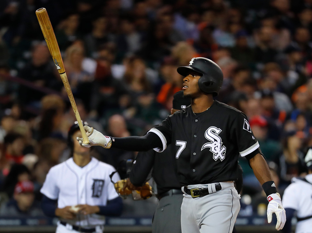 . Chicago White Sox\'s Tim Anderson tosses his bat after striking out against the Detroit Tigers in the fourth inning of a baseball game in Detroit, Friday, April 28, 2017. (AP Photo/Paul Sancya)