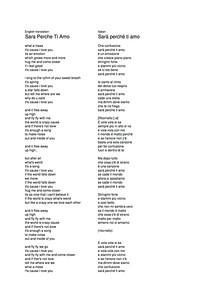 Sar Perche Ti Amo Lyrics