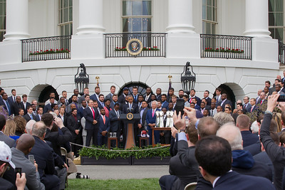 The 2015 Super Bowl Champion New England Patriots visit the White House and President Obama on April 23 2015.