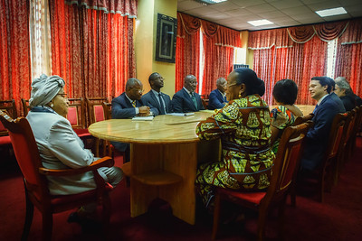 Monrovia, Liberia October 12, 2017 -  Madame Samba-Panza and TCC leadership meet with Liberian president Ellen Johnson Sirleaf.