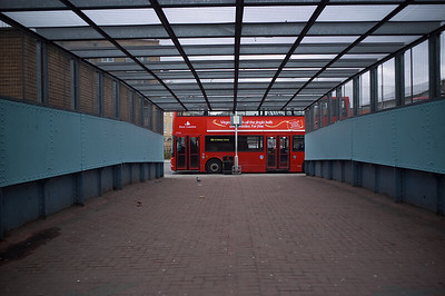 2007, November, the footbridge which would later become the site of the temporary entrance to Whitechapel Station, while the old station was being refurbished.
