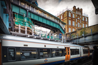 2013, October, a dramatic view from the southbound Overground platform at Whitechapel after the removal of most of the inner railbeds of the Underground lines. Note at this location the Overground is actually below the Underground.