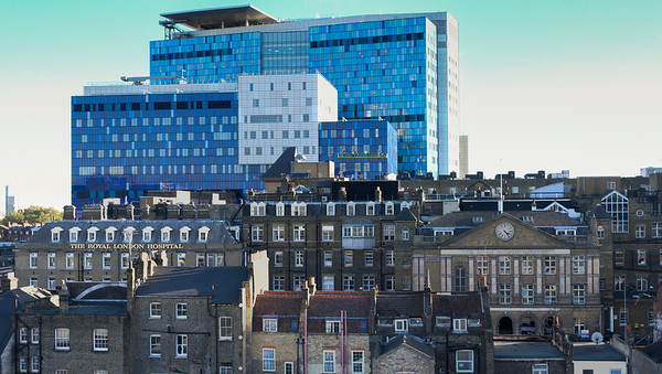 The old and new Royal London Hospital buildings